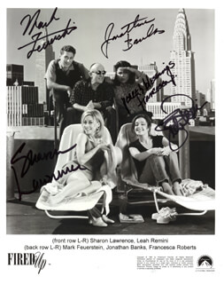 FIRED UP TV CAST - AUTOGRAPHED SIGNED PHOTOGRAPH CIRCA 1997 CO-SIGNED BY: JONATHAN BANKS, SHARON LAWRENCE, LEAH REMINI, MARK FEUERSTEIN, FRANCESCA ROBERTS