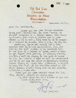 HUGH GRIFFITH - TYPED LETTER SIGNED 11/04/1960