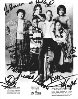 HANGIN' WITH MR. COOPER TV CAST - AUTOGRAPHED INSCRIBED PHOTOGRAPH CIRCA 1994 CO-SIGNED BY: RAVEN-SYMONE, HOLLY ROBINSON PEETE, MARQUISE WILSON, MARK CURRY, SAUNDRA QUATERMAN