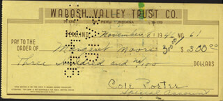 COLE PORTER - AUTOGRAPHED SIGNED CHECK 11/08/1946 CO-SIGNED BY: MARGARET MOORE