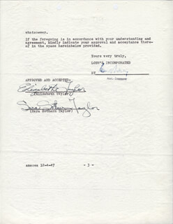 ELIZABETH LIZ TAYLOR - DOCUMENT SIGNED 12/04/1947 CO-SIGNED BY: SARA S. TAYLOR