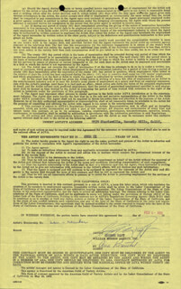 GEORGE RAFT - CONTRACT SIGNED 02/06/1958