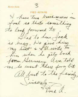 Autographs: FRED ASTAIRE - AUTOGRAPH LETTER SIGNED