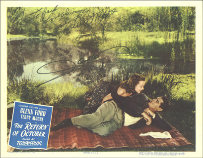 Autographs: THE RETURN OF OCTOBER MOVIE CAST - LOBBY CARD SIGNED CO-SIGNED BY: GLENN FORD, TERRY MOORE
