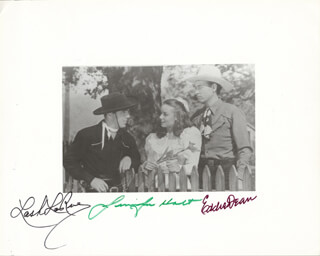 SONG OF OLD WYOMING MOVIE CAST - AUTOGRAPHED SIGNED PHOTOGRAPH CO-SIGNED BY: EDDIE DEAN, JENNIFER HOLT, LASH LA RUE
