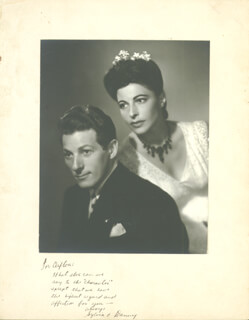 DANNY KAYE - INSCRIBED PHOTOGRAPH MOUNT SIGNED CO-SIGNED BY: SYLVIA KAYE