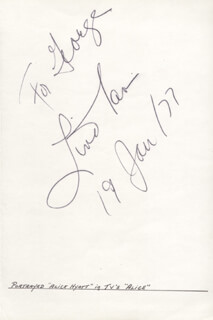 LINDA LAVIN - INSCRIBED SIGNATURE 01/19/1977