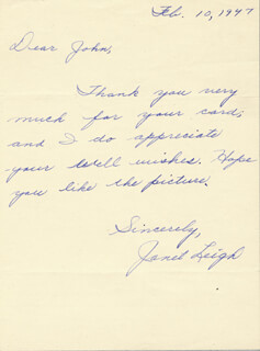JANET LEIGH - AUTOGRAPH LETTER SIGNED 02/10/1947