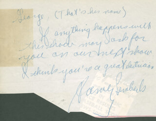 HARVEY LEMBECK - AUTOGRAPH NOTE SIGNED CO-SIGNED BY: SAMMY MASTERS