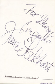 JUNE LOCKHART - AUTOGRAPH NOTE SIGNED  - HFSID 25617