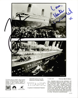 TITANIC MOVIE CAST - PRINTED PHOTOGRAPH SIGNED IN INK CO-SIGNED BY: LEONARDO DI CAPRIO, KATE WINSLET