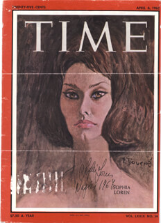 Autographs: SOPHIA LOREN - MAGAZINE COVER SIGNED 1964