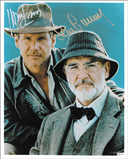 INDIANA JONES - THE LAST CRUSADE MOVIE CAST - AUTOGRAPHED SIGNED PHOTOGRAPH CO-SIGNED BY: SEAN CONNERY, HARRISON FORD