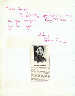 LISA LU - AUTOGRAPH NOTE SIGNED CO-SIGNED BY: HELEN BARNHART, LARRY HAYS
