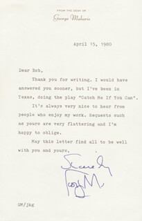GEORGE MAHARIS - TYPED LETTER SIGNED 04/15/1980