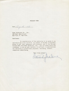 DOROTHY MALONE - DOCUMENT SIGNED 08/28/1956