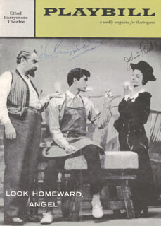 LOOK HOMEWARD, ANGEL BROADWAY CAST - SHOW BILL SIGNED CO-SIGNED BY: HUGH GRIFFITH, JO VAN FLEET, ANTHONY PERKINS