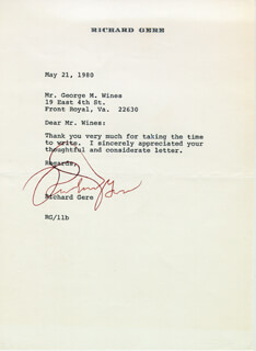 RICHARD GERE - TYPED LETTER SIGNED 05/21/1980