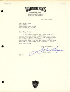 JOSHUA LOGAN - TYPED LETTER SIGNED 07/13/1959