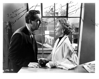 THERE''S ALWAYS TOMORROW MOVIE CAST - AUTOGRAPHED INSCRIBED PHOTOGRAPH CO-SIGNED BY: FRED MacMURRAY, BARBARA STANWYCK