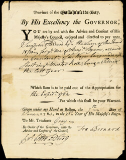 Autographs: SIR FRANCIS 1ST BARONET BERNARD - DOCUMENT SIGNED 06/17/1763
