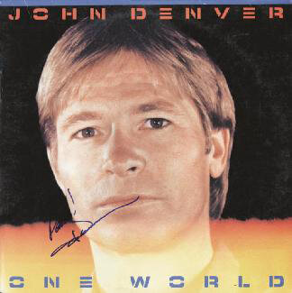 JOHN DENVER - RECORD ALBUM COVER SIGNED