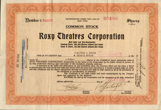 SAMUEL ROXY ROTHAFEL - STOCK CERTIFICATE SIGNED 07/22/1930