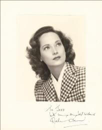 MERLE OBERON - INSCRIBED PHOTOGRAPH MOUNT SIGNED