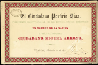 Autographs: PRESIDENT PORFIRIO DIAZ (MEXICO) - DOCUMENT SIGNED 09/15/1877
