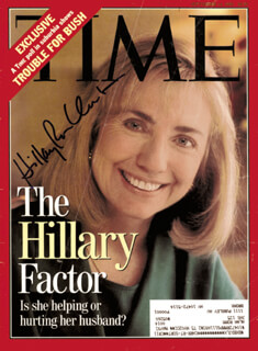 Autographs: FIRST LADY HILLARY RODHAM CLINTON - MAGAZINE COVER SIGNED