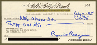 PRESIDENT RONALD REAGAN - AUTOGRAPHED SIGNED CHECK 07/07/1995 CO-SIGNED BY: FIRST LADY NANCY DAVIS REAGAN