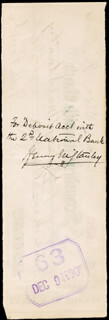 Autographs: HENRY M. STANLEY - CHECK ENDORSED 12/09/1890