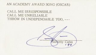 SAMMY CAHN - TYPED LYRIC(S) SIGNED 1990