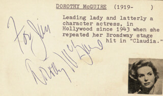 DOROTHY McGUIRE - INSCRIBED SIGNATURE