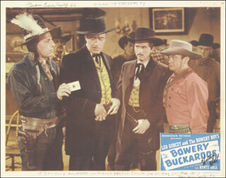 BOWERY BUCKAROOS MOVIE CAST - LOBBY CARD SIGNED 1986 CO-SIGNED BY: HUNTZ HALL, IRON EYES CODY
