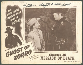 CLAYTON THE LONE RANGER MOORE - INSCRIBED LOBBY CARD SIGNED