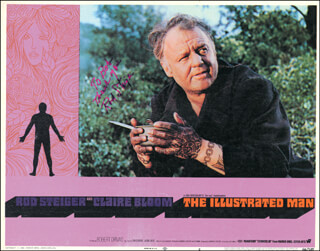 ROD STEIGER - INSCRIBED LOBBY CARD SIGNED