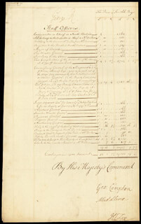 KING GEORGE II (GREAT BRITAIN) - DOCUMENT SIGNED CO-SIGNED BY: GEORGE COMPTON, HENRY 1ST BARON HOLLAND FOX