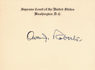 Autographs: ASSOCIATE JUSTICE OWEN J. ROBERTS - SUPREME COURT CARD SIGNED