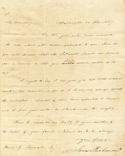 PRESIDENT JAMES BUCHANAN - AUTOGRAPH LETTER SIGNED 02/20/1837