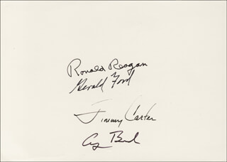 Autographs: THE FOUR PRESIDENTS - CHRISTMAS / HOLIDAY CARD SIGNED CO-SIGNED BY: PRESIDENT JAMES E. JIMMY CARTER, PRESIDENT RONALD REAGAN, PRESIDENT GEORGE H.W. BUSH, PRESIDENT GERALD R. FORD