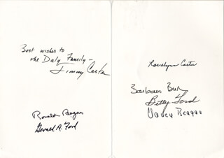 Autographs: THE THREE PRESIDENTS - INSCRIBED CARD SIGNED CO-SIGNED BY: PRESIDENT JAMES E. JIMMY CARTER, FIRST LADY NANCY DAVIS REAGAN, FIRST LADY BARBARA BUSH, FIRST LADY BETTY FORD, PRESIDENT RONALD REAGAN, FIRST LADY ROSALYNN CARTER, PRESIDENT GERALD R. FORD