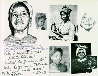 BUTTERFLY McQUEEN - PHOTOCOPY SIGNED IN INK