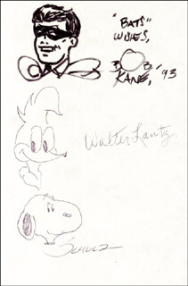 CHARLES M. SCHULZ - ORIGINAL ART SIGNED 1993 CO-SIGNED BY: BOB KANE, WALTER LANTZ