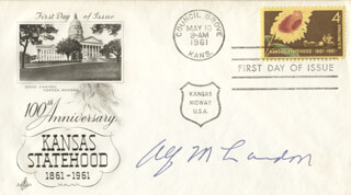 GOVERNOR ALF M. (ALFRED) LANDON - FIRST DAY COVER SIGNED