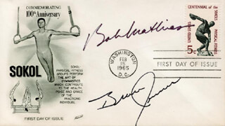 BOB MATHIAS - FIRST DAY COVER SIGNED CO-SIGNED BY: BRUCE (CAITLYN JENNER) JENNER