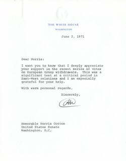 PRESIDENT RICHARD M. NIXON - TYPED LETTER SIGNED 06/02/1971