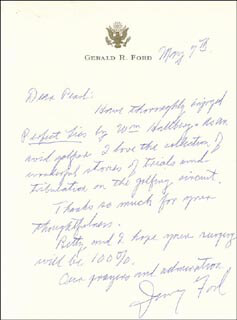 PRESIDENT GERALD R. FORD - AUTOGRAPH LETTER SIGNED 05/07