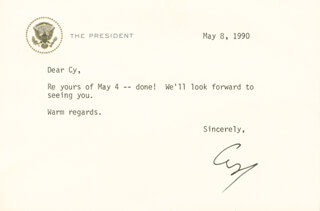 PRESIDENT GEORGE H.W. BUSH - TYPED LETTER SIGNED 05/08/1990