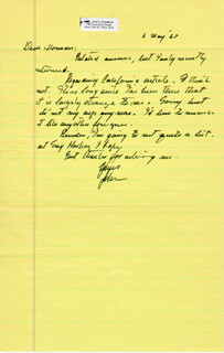 JOHN STEINBECK - AUTOGRAPH LETTER SIGNED 05/06/1967